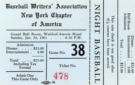 Ticket for the 1961 BBWAA baseball game and dinner at Waldorf-Astoria Hotel in New York City - BL-3100-63a (National Baseball Hall of Fame Library)