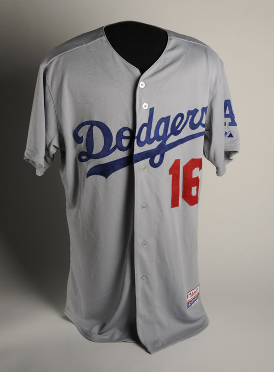 The Dodgers' Andre Ethier wore this jersey on March 22, 2014 during his team's game against the Arizona Diamondbacks in Sydney, Australia, when MLB opened the season Down Under. - B-77-2014 (Milo Stewart, Jr. / National Baseball Hall of Fame)