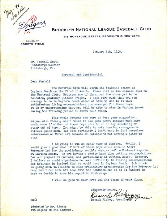Branch Rickey to Wendell Smith, January 8, 1946 (Wendell Smith Papers, folder 2)  (National Baseball Hall of Fame Library) <a href='http://bhof-staging.cogapp.com/node/476'>Detailed Image</a>