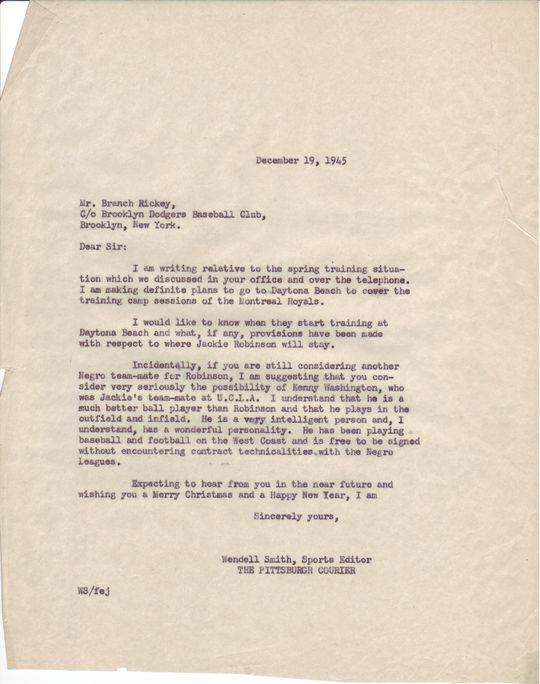 Wendell Smith to Branch Rickey, December 19, 1945 (Wendell Smith Papers, folder 2)  (National Baseball Hall of Fame Library) <a href='http://bhof-staging.cogapp.com/node/476'>Detailed Image</a>