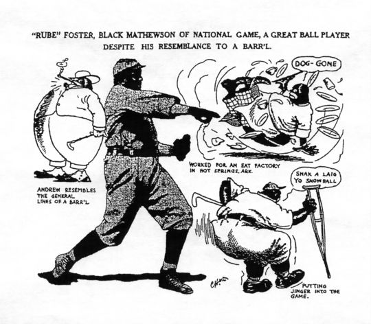 """Black and white copy of a cartoon of """"'Rube' Foster, Black Mathewson of National Game, a Great Ball Player despite his resemblance to a barr'l."""" BL-49.2008.7 (National Baseball Hall of Fame Library)"""