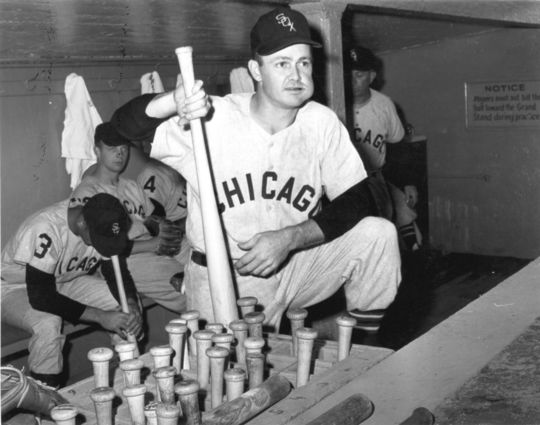 Nellie Fox of the Chicago White Sox in the dugout - BL-2394-95 (National Baseball Hall of Fame Library)