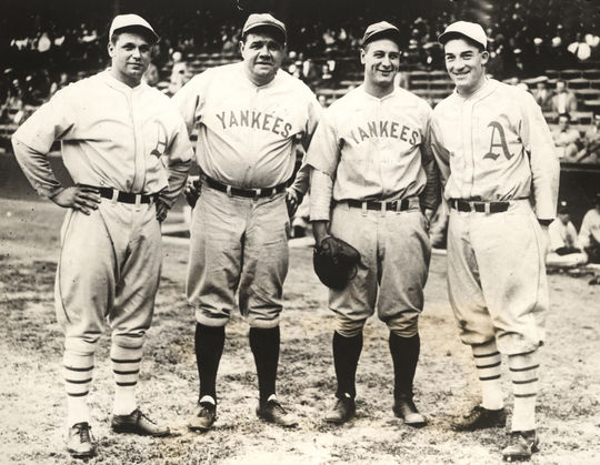 From left, Hall of Fame players Jimmie Foxx, Babe Ruth, Lou Gehrig and Al Simmons pose for a photograph in 1929. BL-1195-68 (National Baseball Hall of Fame Library)