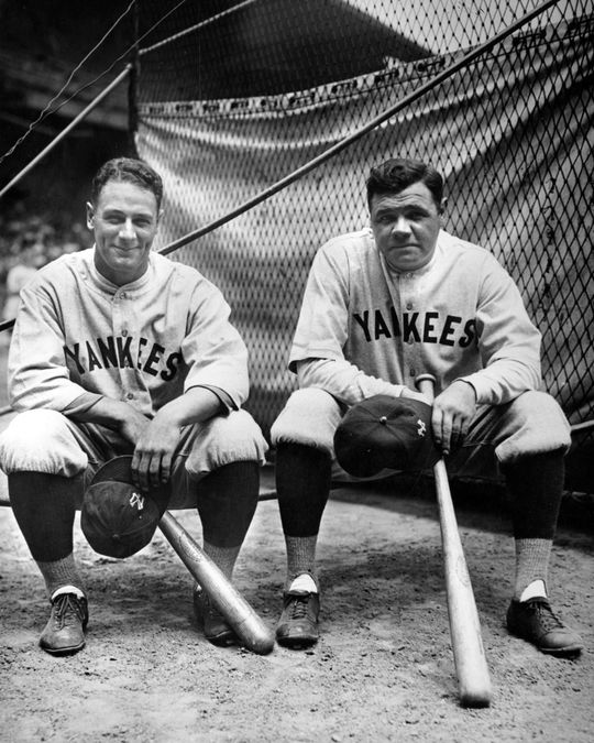 Lou Gehrig and Babe Ruth pose for a photo during the 1927 World Series. By the early 1930s, Gehrig would gradually succeed the aging Ruth as the New York Yankees' dominant slugger. BL-1383-92 (Louis Van Oeyen / National Baseball Hall of Fame Library)