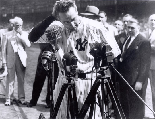 Lou Gehrig speaking at Yankee Stadium, July 4, 1939 - BL-2830-98 (National Baseball Hall of Fame Library)