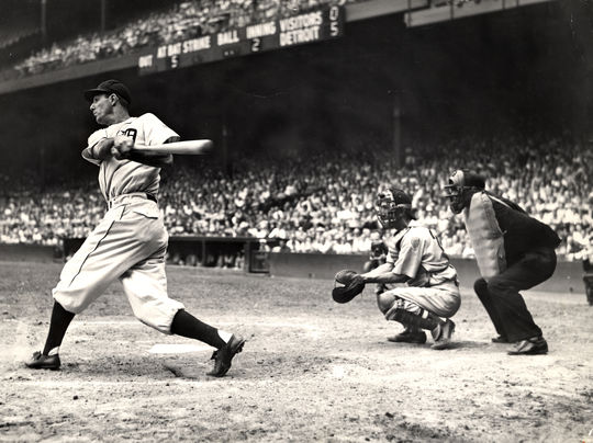 Detroit Tigers' Hank Greenberg batting in Detroit's Briggs Stadium, August 11, 1945 - BL-409-56 (National Baseball Hall of Fame Library)