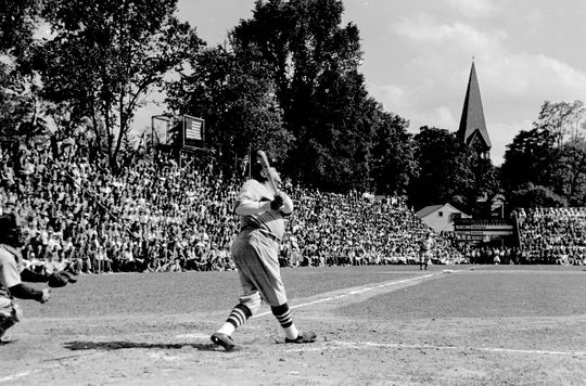 Babe Ruth pinch-hits during the first Hall of Fame Game in Cooperstown, 1939 - BL-5435-96 (National Baseball Hall of Fame Library)