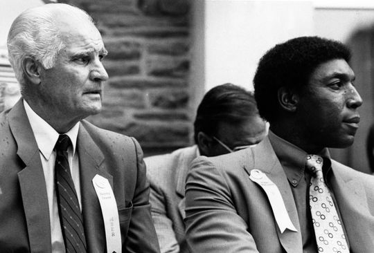 Hall of Fame Inductees Bobby Doerr and Willie McCovey during the 1986 Induction Ceremony - BL-186-7953-94 (Tom Ryder/National Baseball Hall of Fame Library)