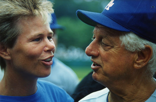 Ann Meyers Drysdale attended Hall of Fame Weekend 1993 in Cooperstown to share memories following the passing of her husband, Don Drysdale, on July 3 of that year. In this photo dated Aug. 2, 1993, Meyers Drysdale talks with Dodgers manager Tommy Lasorda, who was in town for the annual Hall of Fame Game. - BL-9879-93 (Milo Stewart, Jr. / National Baseball Hall of Fame)