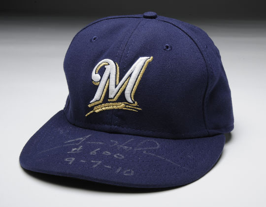 Milwaukee Brewers cap worn on worn on Sept. 7, 2010, by Trevor Hoffman when he recorded his 600th career save B-184.2010 (Milo Stewart, Jr. / National Baseball Hall of Fame)