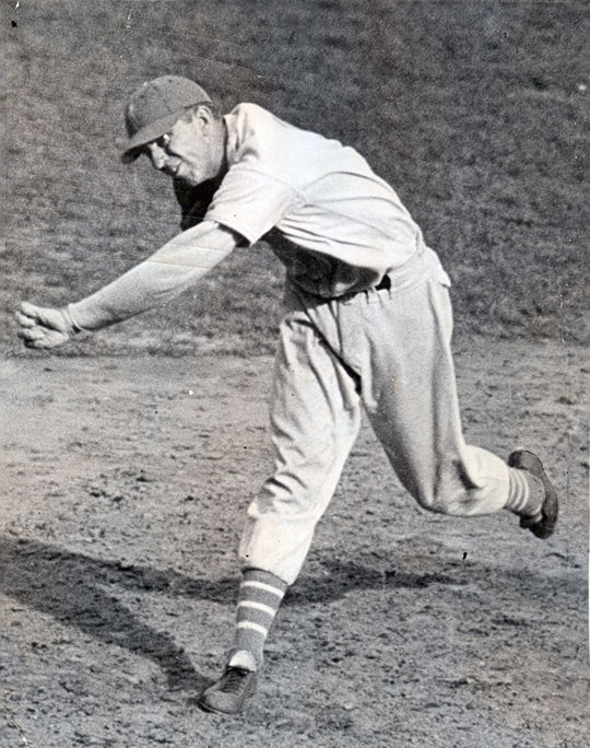 Carl Hubbell's screwball pitch required an awkward reverse twisting of his arm and wrist during his delivery. BL-540-68 (National Baseball Hall of Fame Library)