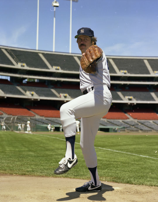 """Posed action on the mound of James """"Catfish"""" Hunter of the New York Yankees, 1976. - B-NY76-B (Doug McWilliams / National Baseball Hall of Fame Library)"""