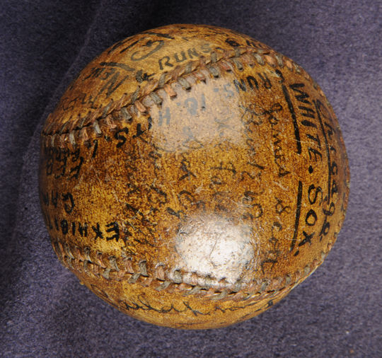 Baseball used in an exhibition game between the Chicago White Sox and New York Giants at Stamford Bridge, London, February 26, 1914, a year-and-a-half before the 1915 game at Lord's Cricket Ground. - B-344.66 (National Baseball Hall of Fame Library)