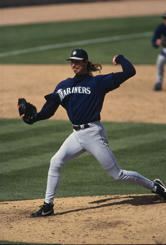 Game-action pitching of Randy Johnson of the Seattle Mariners. - BL-1976-2002-540 (Brad Mangin/National Baseball Hall of Fame Library)