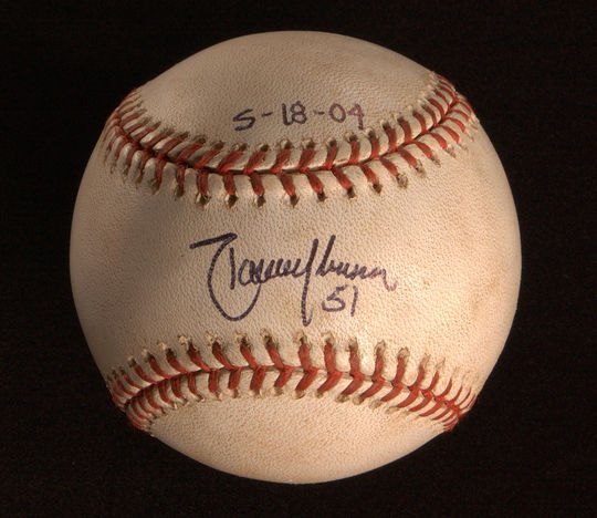 Ball from Randy Johnson's perfect game, a 13-strikeout gem pitched at Atlanta's Turner Field on May 18, 2004. At 40 years of age, the D-backs southpaw broke a record set a century before, when a 37-year-old Cy Young tossed a perfecto on May 5, 1904.