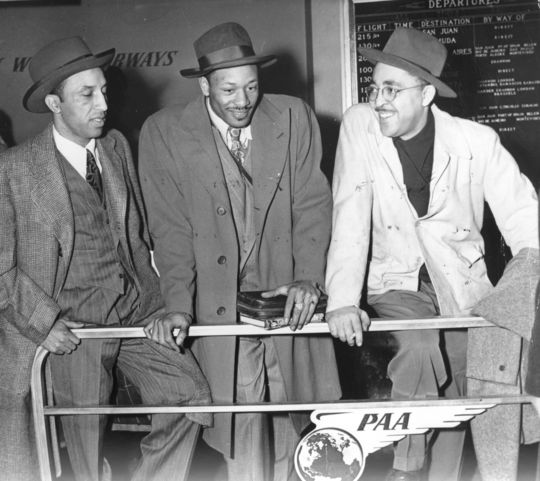 Wendell Smith (right) with (left) Sam Lacy and Dan Bankhead (center) boarding a flight to Santo Domingo for Dodgers training camp - BL-487-98 (National Baseball Hall of Fame Library)