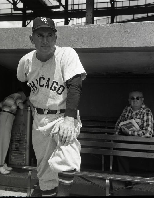 Full-length shot on dugout steps of Chicago White Sox manager Al Lopez, c. 1961 - BL-633-70a (Don Wingfield/National Baseball Hall of Fame Library)