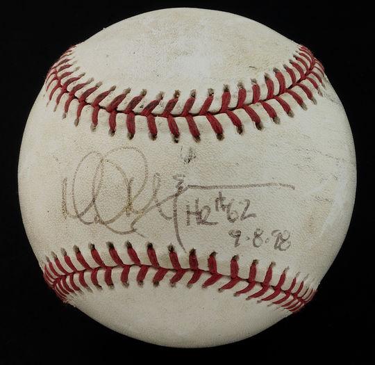 Mark McGwire of the St. Louis Cardinals hit this ball on Sept. 8, 1998 to break Roger Maris' single-season home run record. - B-262-98 (Milo Stewart, Jr./National Baseball Hall of Fame)
