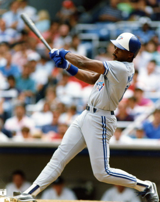 Game-action batting of Fred McGriff of the Toronto Blue Jays. - BL-10791-89 (Photo File/National Baseball Hall of Fame Library)