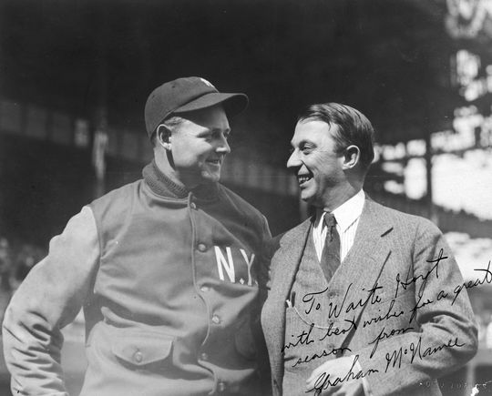 """Graham McNamee, right, with future HOFer Waite Hoyt. McNamee later signed the photographed and presumably sent it to Hoyt with his """"best wishes."""" BL-5061.69 (National Baseball Hall of Fame Library)"""