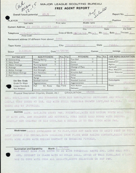 Scouting report on Mike Piazza. - BL-1132-99 (National Baseball Hall of Fame Library)