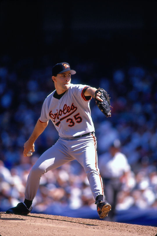 Mike Mussina of the Baltimore Orioles. (Michael Ponzini/National Baseball Hall of Fame Library)