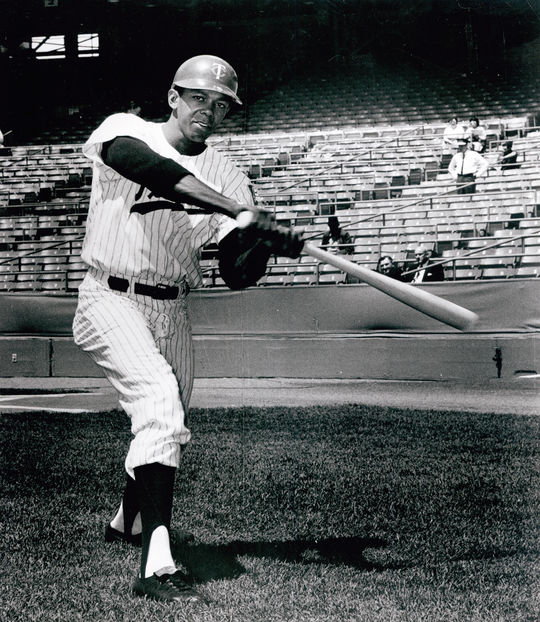 Tony Oliva of the Minnesota Twins posed batting - BL-25-65 (National Baseball Hall of Fame Library)