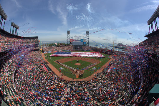 View during the National Anthem on Opening Day before the game between the Arizona Diamondbacks and San Francisco Giants at AT&T Park on Tuesday, April 8, 2014 in San Francisco, California. - BL-477579863BM (Brad Mangin / National Baseball Hall of Fame Library)