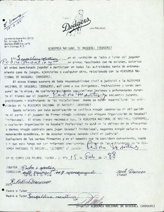 Letter of consent from Pedro Martinez to participate in the Dodgers Academy. - BL-9-2012-3 (National Baseball Hall of Fame Library)