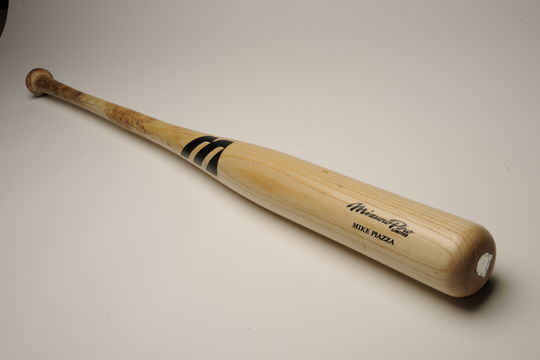 On May 5, 2004, Mets star Mike Piazza hit a solo home run with this bat for his 352nd home run as a catcher, breaking Carlton Fisk's major league record. - B-261-2004 (Milo Stewart, Jr./National Baseball Hall of Fame)