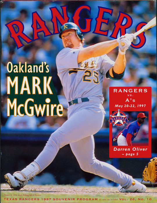 1997 Texas Rangers program featuring Mark McGwire of the Oakland A's on the cover. - BL-791-2011 (National Baseball Hall of Fame Library)