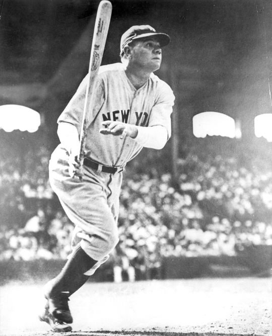 Babe Ruth, New York Yankees, batting in Chicago's Comiskey Park - BL-1386-86 (National Baseball Hall of Fame Library)