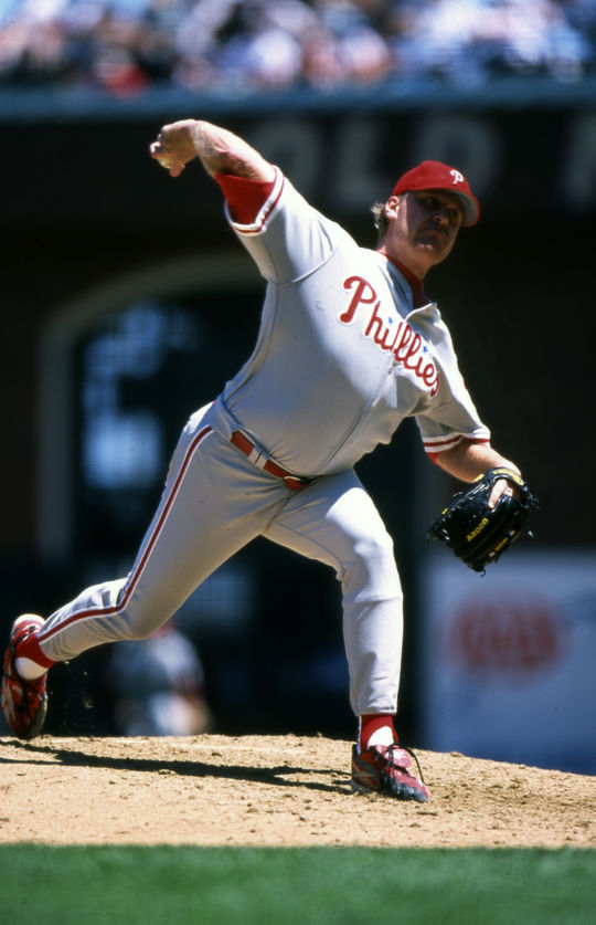 Curt Schilling of the Philadelphia Phillies pitching in-game, May 29, 2008. - BL-1976-2002-885 (Brad Mangin/National Baseball Hall of Fame Library)