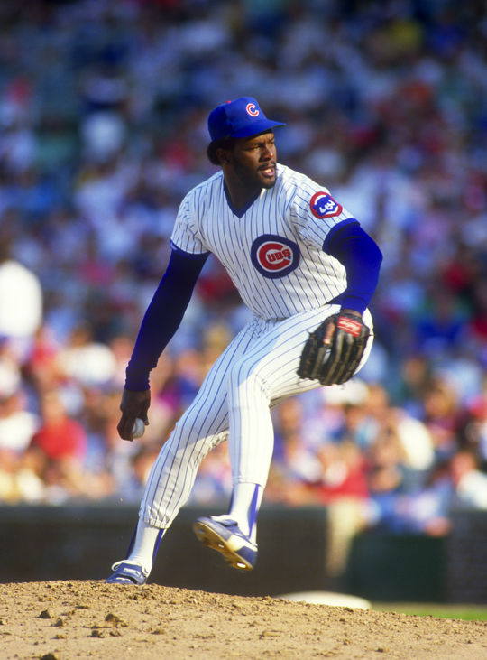 Lee Smith of the Chicago Cubs pitches during an MLB game at Wrigley Field in Chicago, Illinois. - BL-090711 (Ron Vesely/National Baseball Hall of Fame Library)