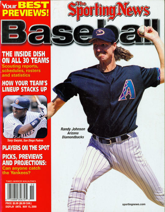 Randy Johnson appeared on the cover of the Sporting News in 2000. - BL-80-2013-43 (National Baseball Hall of Fame Library)