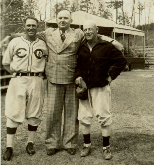 Ray Doan with two of his teachers, Johnny Mostil and Kid Elberfeld, in 1938. – BL – 4716.73.42 (National Baseball Hall of Fame Library)