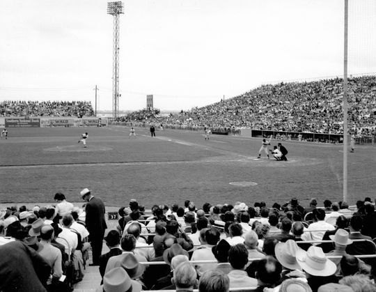First pitch from Bobby Shantz to Lou Brock for the Colt Stadium opener on April 10, 1962. BL-1047-2004 (Darling Photography / National Baseball Hall of Fame Library)