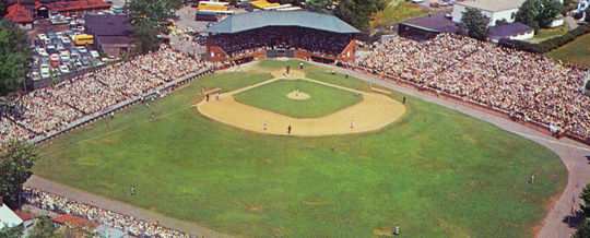 An aerial view of Doubleday Field, date unknown. (National Baseball Hall of Fame Library)