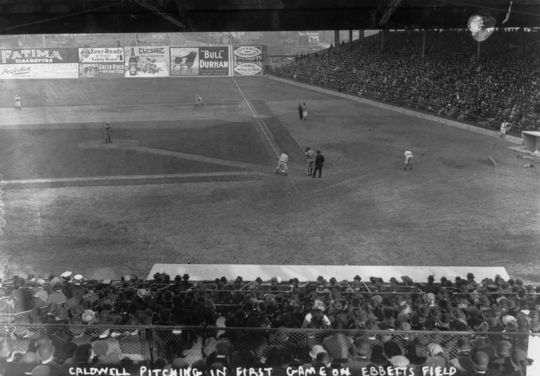 The first game at Ebbets Field took place on April 9, 1913, the year after the cornerstone and time capsule were placed in the ballpark's foundation – BL-10457-94 (National Baseball Hall of Fame Library)
