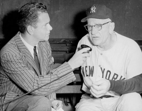 1995 Ford C. Frick Award Winner Bob Wolff in the dugout with Casey Stengel - BL-4267-71 (National Baseball Hall of Fame Library)