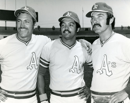 1972 Oakland A's teammates (L to R) Mike Epstein, Reggie Jackson, Darold Knowles - BL-3888-72 (National Baseball Hall of Fame Library)