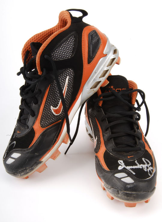 On May 25, 2008, the Giants' Omar Vizquel stepped into the record books wearing these shoes as he played in his 2,582nd game at shortstop, eclipsing the record set by fellow-Venezuelan Luis Aparicio - B-203-2008 (National Baseball Hall of Fame Library)