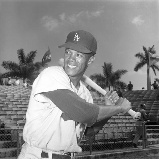 Maury Wills of the Los Angeles Dodgers posed batting at spring training - BL-3544-69 (Don Wingfield/National Baseball Hall of Fame Library)
