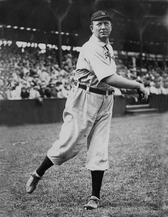 Cy Young of the Cleveland Indians posed pitching. - BL-44-58 (Bill Conlon / National Baseball Hall of Fame Library)