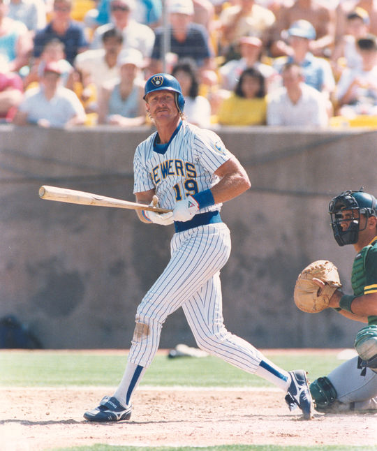 Robin Yount collected his 3,000th career hit in front of the home crowd at Milwaukee County Stadium – the ballpark in which he played all 20 of his seasons with the Brewers. BL-239-2004 (PhotoFile / National Baseball Hall of Fame Library)