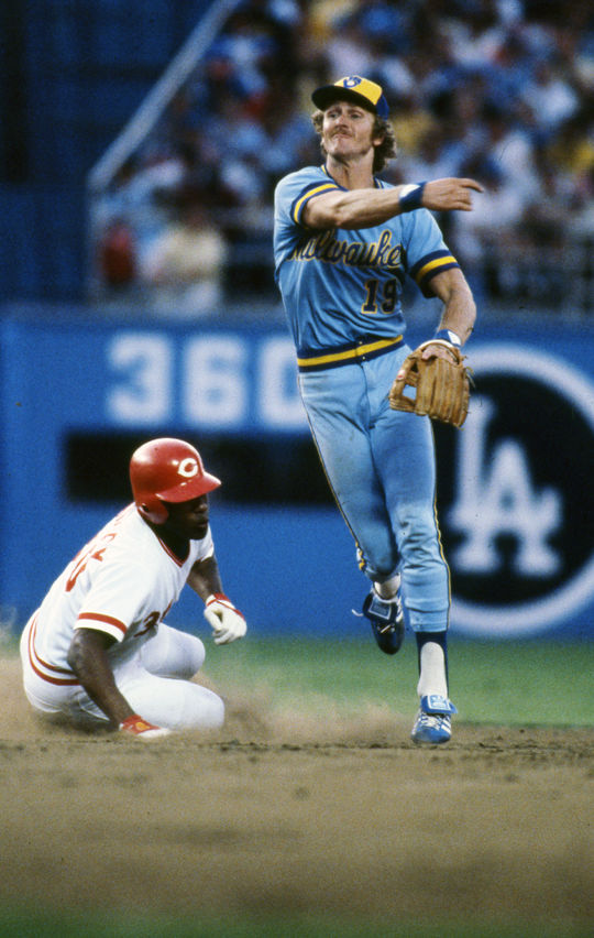 Hall of Famer Robin Yount turns a double play in front of the Reds' Ken Griffey Sr. during the 1980 All-Star Game. Nine years later, he would become the third player in history to win a league MVP award at two different positions (second base and centerfield). BL-555-2005 (National Baseball Hall of Fame Library)
