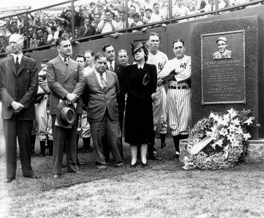 July 6, 1941, unveiling the Lou Gehrig monument at Yankee Stadium in New York. The scheduled date to honor the Iron Horse was July 4, 1941, but the game against the Senators was rained out. The Yankees played the Athletics on the 5th, but the unveiling of the monument was held on July 6th. 460.75_Gehrig_NBL (National Baseball Hall of Fame Library)