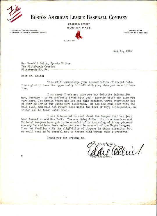 Eddie Collins to Wendell Smith, May 11, 1945, (Wendell Smith Papers, National Baseball Hall of Fame Library) <a href=1669 target=new>Link to Detailed Image</a>
