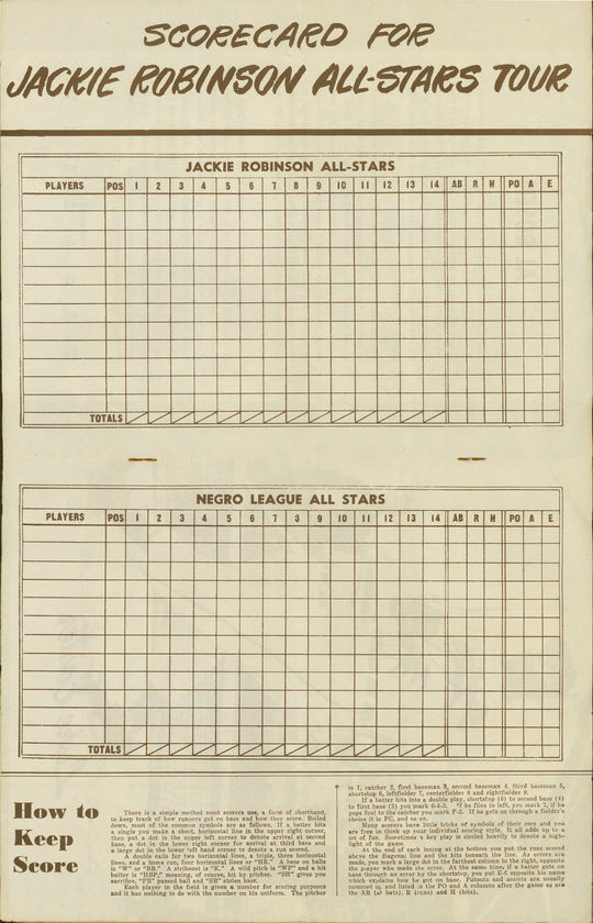 This scorecard was printed ahead of a 1953 exhibition game in which the Jackie Robinson All-Stars faced off against the Negro League All-Stars. Postseason barnstorming tours were common from baseball's earliest days through the 1950s. (National Baseball Hall of Fame and Museum)