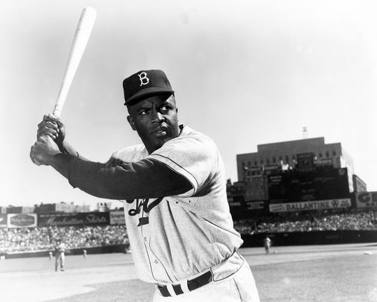 Jackie Robinson played for the Brooklyn Dodgers his entire career, from 1947-1956. (National Baseball Hall of Fame and Museum)